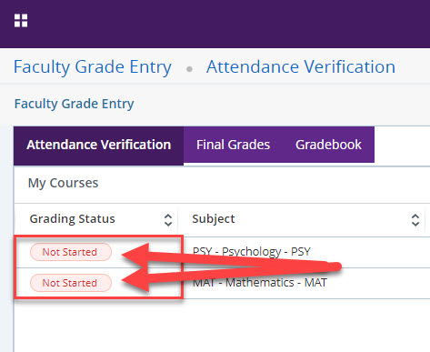 Select the Not Started button for the course required