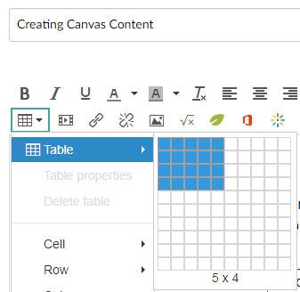 Canvas table creator within the rich text editor.