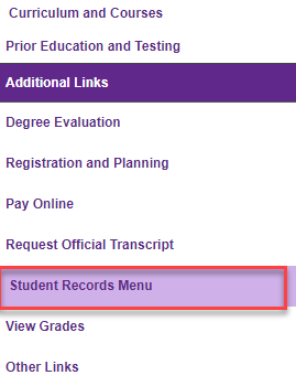 Image of student profile page with student records menu outlined