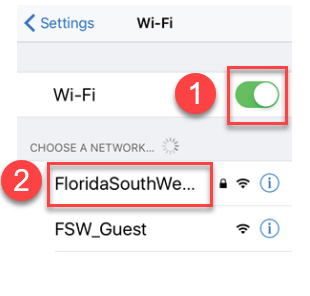 Image with the Wi-Fi on and the network for Florida SouthWestern selected