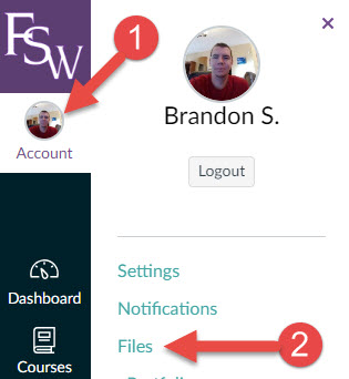 Image with arrows pointing to Account and Files from the Global Navigation bar in Canvas
