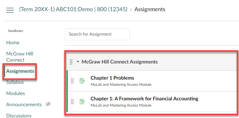 canvas course assignments listed after being deployed through Connect website.