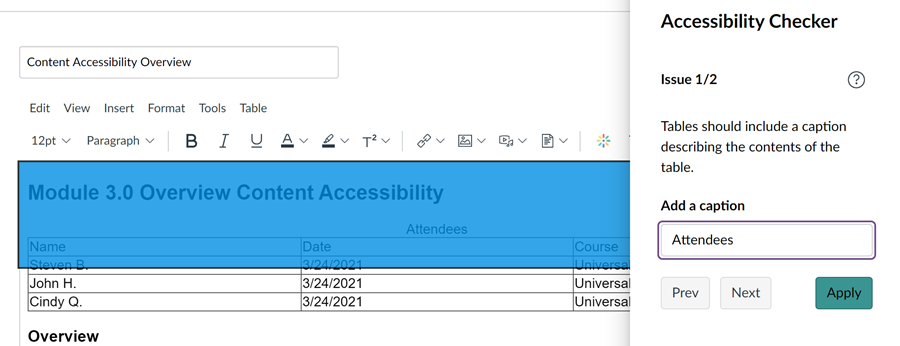 Canvas accessibility checker showing the created table does not have a caption and allows for entry of a caption without leaving the tool.