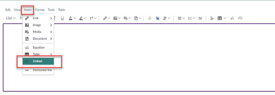 Image showing the location of the Insert tab in the Canvas rich text editor.