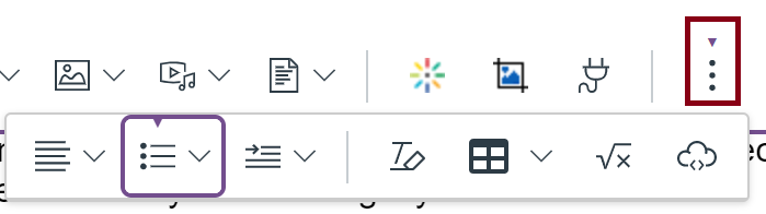 Canvas rich text editor menu bar showing the lists options button under the more options of the toolbar.