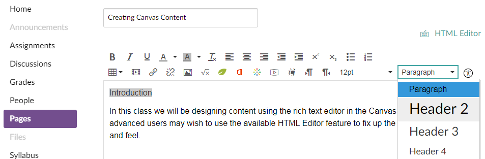 Canvas rich text editor with paragraph drop-down menu expanded displaying the header options available
