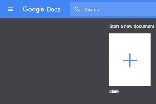 Google Docs initial page to create new documents or edit existing files.