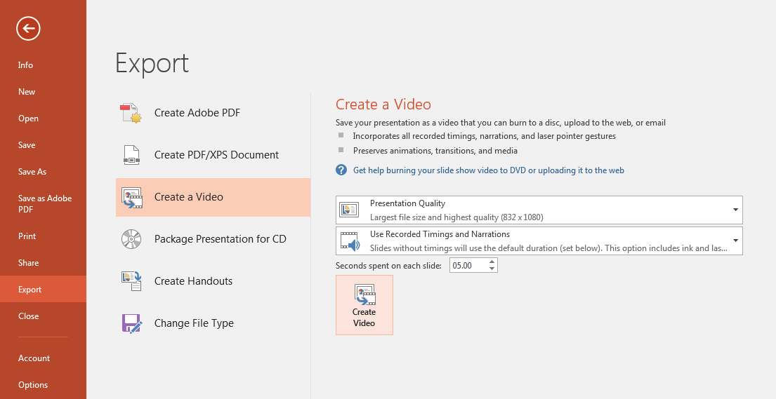Microsoft Office PowerPoint file export options with quality and timing settings shown as described below