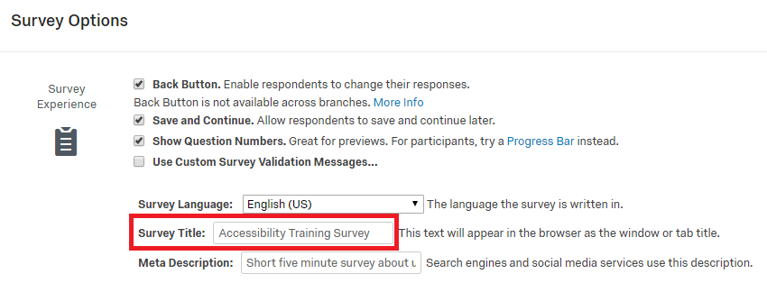 qualtrics survey options menu with focus on the survey experience section with highlighting around the survey title text entry area