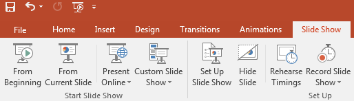 Microsoft Office PowerPoint with slide show tab selected