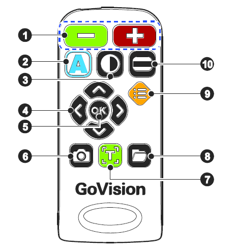 GoVision Pro Remote Control with 10 buttons marked with a number.