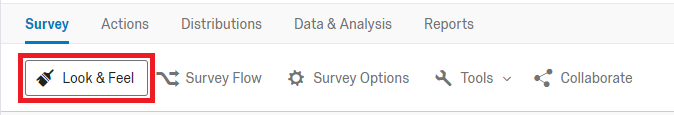 qualtrics survey editor screen with the look and feel button highlighted