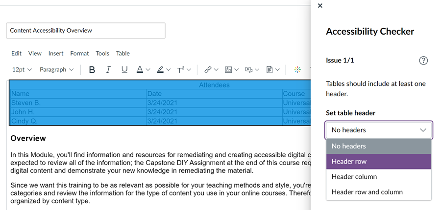 Canvas accessibility checker showing the created table does not have a header set and provide a drop down option to correct issue