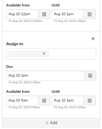graphic showing the added assign box below the original with modified times for the same due date.