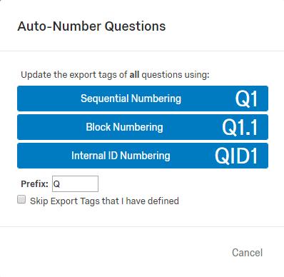 qualtrics auto-number questions tool