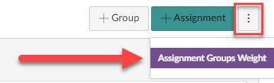Assignment weights group menu under the Kabob button