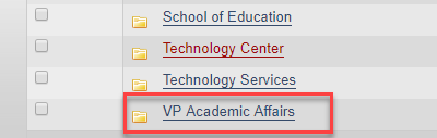 Image with VP academic affairs outlined