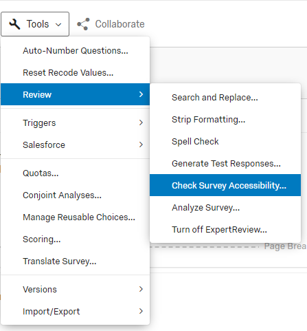 qualtrics tools menu expanded with review sub-menu expanded highlighting the accessibility checker option