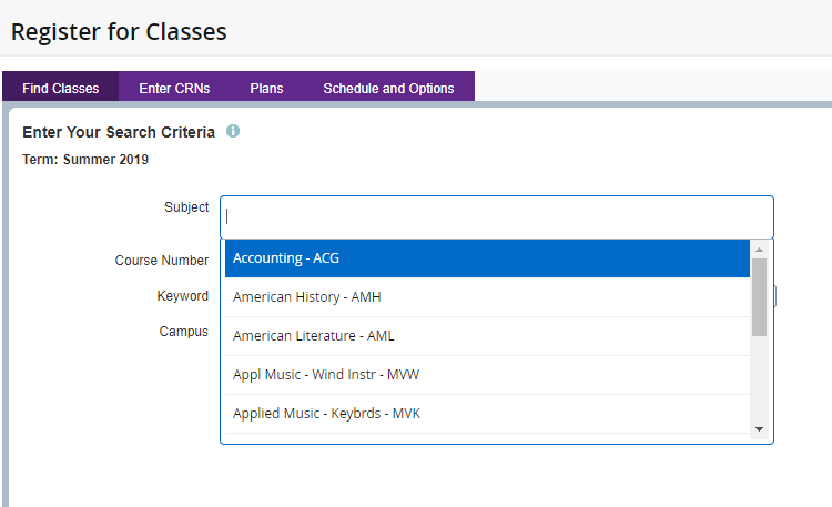 Find classes tab with a drop-down menu of the courses